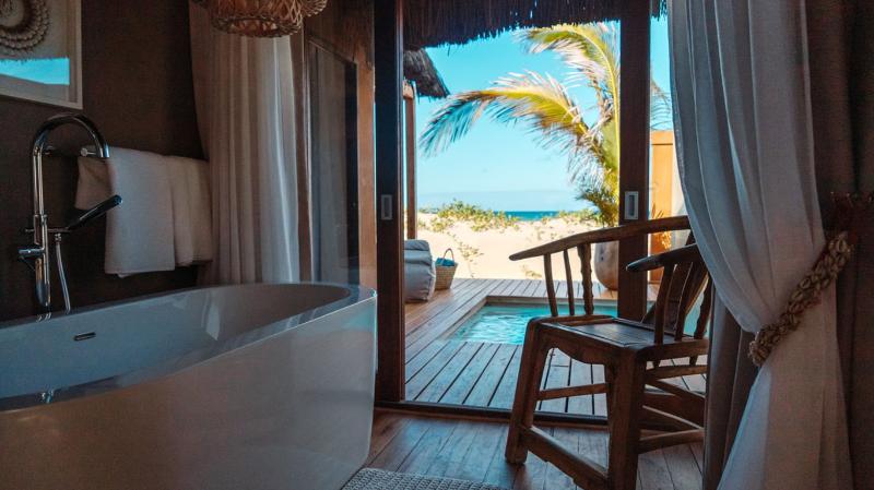 Eclectic Beach Retreat Bathroom